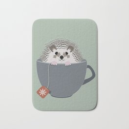 Holiday Tea Cup Hedgehog Bath Mat