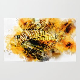 Lionfish in watercolor Rug
