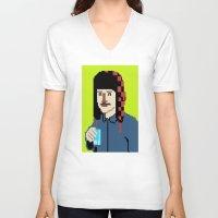 8bit V-neck T-shirts featuring Self-8bit by Judge Bockman