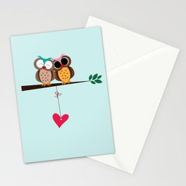 Love owls on the branch, blue background Stationery Cards