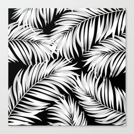 Palm Tree Fronds White on Black Hawaii Tropical Décor Canvas Print