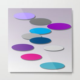 Cool Colors - Large Ovals - Digial Design - Pretty Colors Metal Print