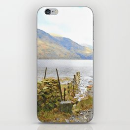 The Shores of Buttermere, Lake District, UK Watercolour Painting iPhone Skin