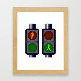 Walking Man Traffic Lights Framed Art Print
