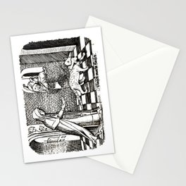 Nun tempting a cat with a fish Stationery Cards