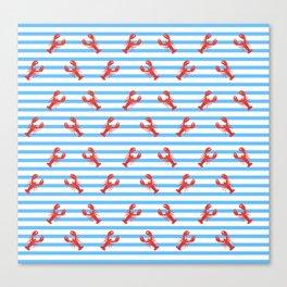 Lobster Pattern Blue Stripes #home #decor #summer #orange #animals #sea #beach #pattern Canvas Print