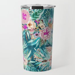 LESS IS BORE Colorful Tropical Floral Travel Mug