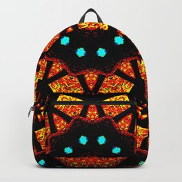 Bright Red Orange Mosaic Kaleidoscope Mandala Backpack