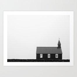 Budir Iceland - Minimalist Black and White Landscape Photography Art Print