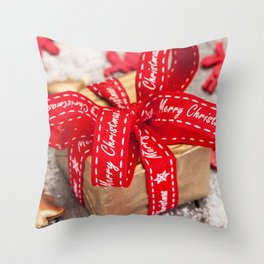 Christmas gift red silk bow 2018 New Year red ribbon decorations Throw Pillow