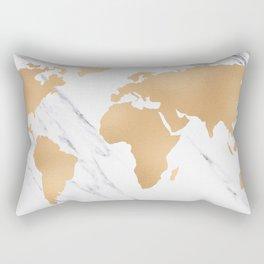 Marble World Map Copper Bronze Rectangular Pillow