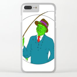 Mobster Fisherman Fly Rod Reel Grime Art Clear iPhone Case