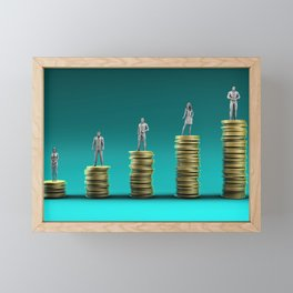 Finance Wealth Increase with Business People Standing on Chart of Gold Coins Framed Mini Art Print