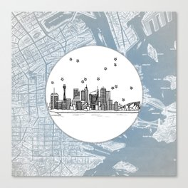 Sydney, New South Wales, Australia City Skyline Illustration Drawing Canvas Print