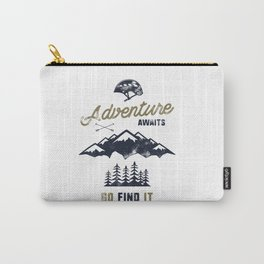 Vintage Adventure Typography Label Carry-All Pouch