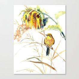 Yellow Bird and Sunflowers, Yellowhammer Canvas Print