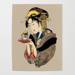 Tea Time with Pug Poster