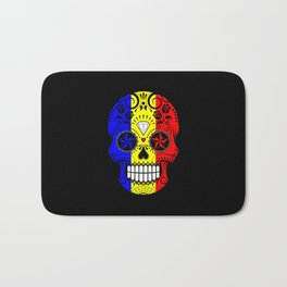 Sugar Skull with Roses and Flag of Romania Bath Mat