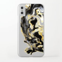 DRAMAQUEEN - GOLD INDIGO MARBLE Clear iPhone Case