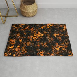 Ancient Amber Wobbly Mosaic Tiles Rug