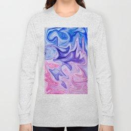 Pink & Blue Violet Marble Art Long Sleeve T-shirt