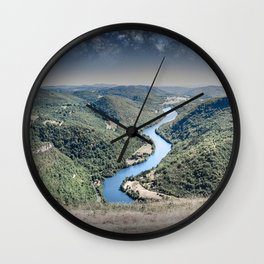 Rolling landscape countryside Ain river by starry sky by night Wall Clock