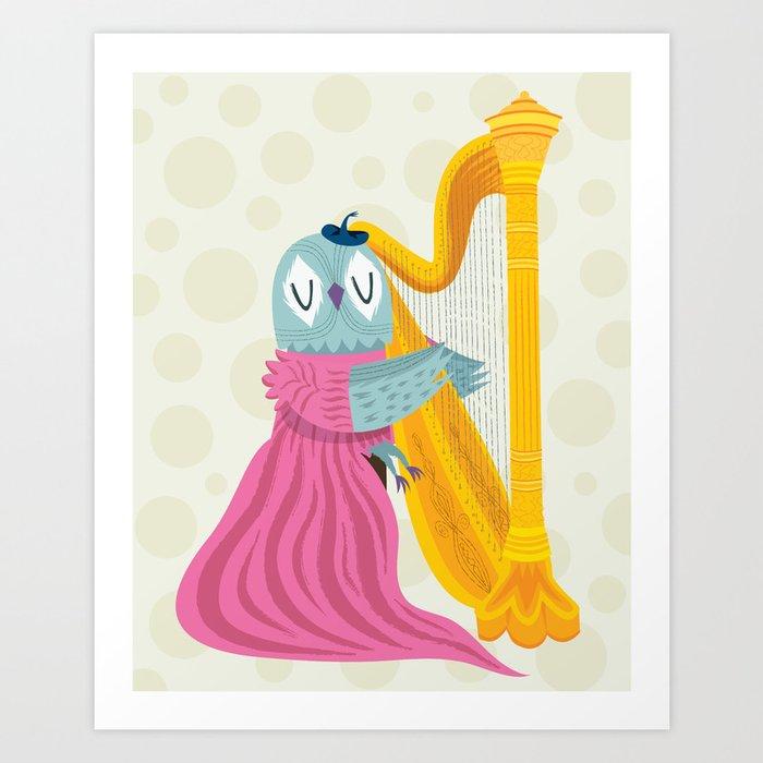 The Owl Harpist Art Print