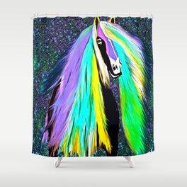 Friesian Horse Rainbow  Shower Curtain