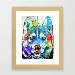 Husky Dog Watercolor Grunge Framed Art Print