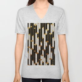 Marble Skyscrapers - Black, White and Gold Unisex V-Neck
