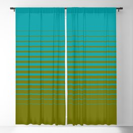 gradient stripes aqua olive Blackout Curtain