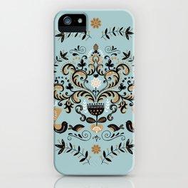 Scandinavian Winter Celebration With Birds iPhone Case