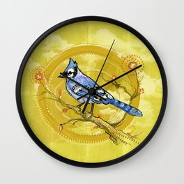Blue Jay Iris Wall Clock