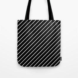 Hot 80s Style Diagonal Black and White Geometric Pattern Tote Bag