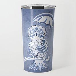 Blue ornamental owl Travel Mug