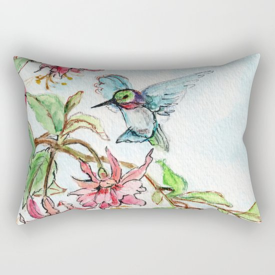Honeysuckle Hummingbird Rectangular Pillow