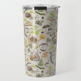 Woodland Snail in Watercolor Fungi Forest, Moss Green and Ochre Earth Animal Pattern Travel Mug