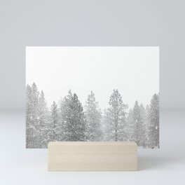 Snow Day // Black and White Winter Landscape Photography Snowing Whiteout Blizzard Mini Art Print