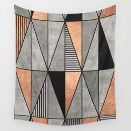 Concrete and Copper Triangles Wall Tapestry