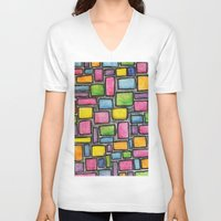 mod V-neck T-shirts featuring Geometric Mod by Andrea Gingerich