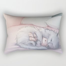 Kitty Sleeping with Bear Friend Rectangular Pillow