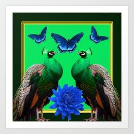 BLUE BUTTERFLIES & GREEN PEACOCKS FLORAL Art Print