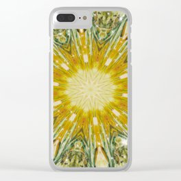 Green and Yellow with Sparkles Kaleidoscope Mandala Retro Abstract Clear iPhone Case