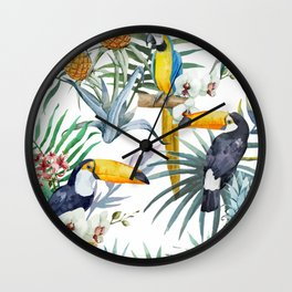 Big Tropical Pattern Toucans Parrot Pineapples Wall Clock