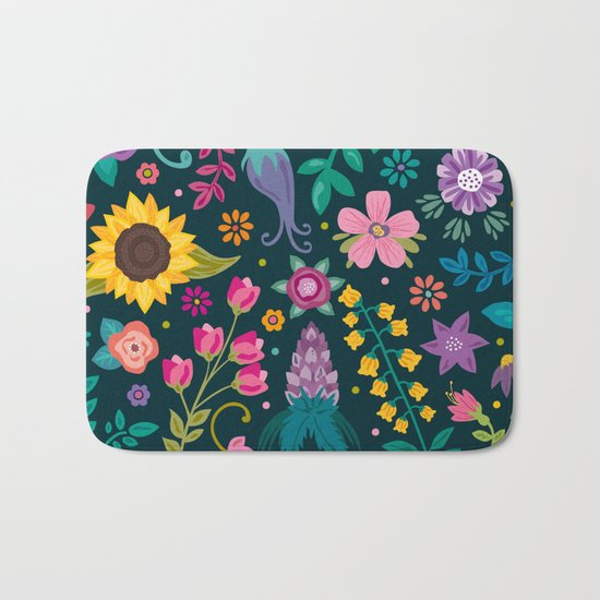 Floral Heart Bath Mat