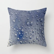 drops blue  Throw Pillow
