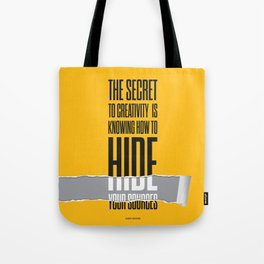 Lab No. 4 - The secret to creativity Albert Einstein Inspirational Quotes Poster Tote Bag