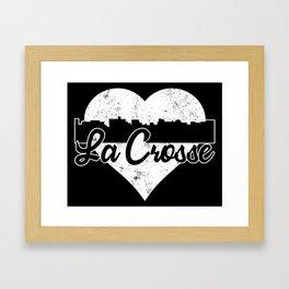 Retro La Crosse Wisconsin Skyline Heart Distressed Framed Art Print