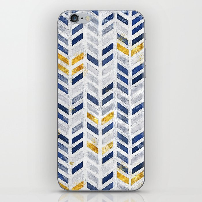 Herringbone chevron pattern.Indigo faux gold acrylic canvas iPhone Skin