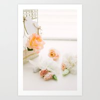Flowers and Birdcage Art Print